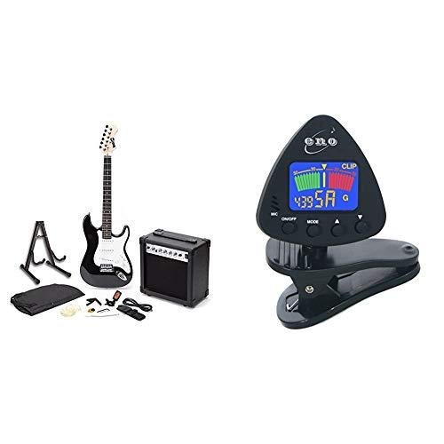 RockJam RJEG01-SK-BK Full Size Electric Guitar Superkit with Guitar Amplifier Guitar Strings Black & ENO 20537 Clip on Guitar Tuner Clip on Ukulele Tuner Bass Tuner Violin Tuner Chromatic Tuner