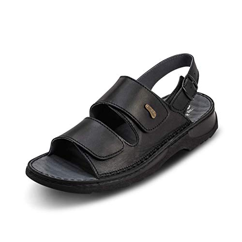 VITAFORM® Herren Pantolette Sandale Handgenäht Echt Softnappaleder Mit Reflexzonenfußbett Weite H (Schwarz, Numeric_43)
