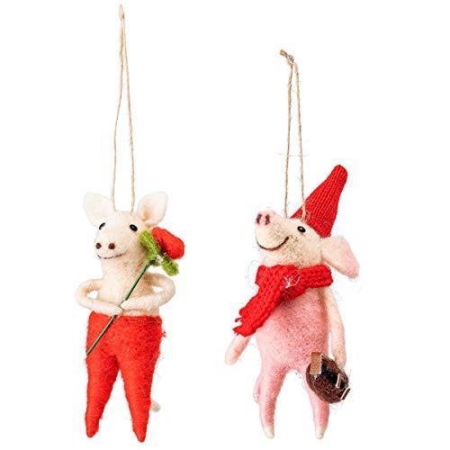 Bloomingville - Ornament/Weihnachten/Deko - Wolle - Multi-Color - (LxHxB) 7 x 12 x 4 cm - 2er-Set