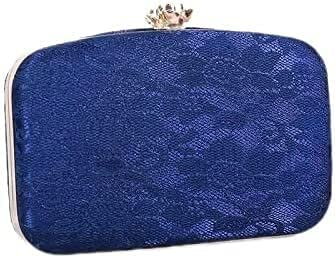 Women's Evening Handbags Women's Clutch Retro Banquet Lace Evening Bag (Color : Blue)