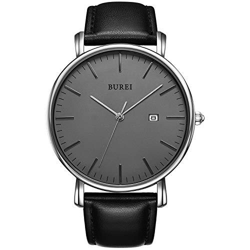 BUREI Stilvolle Minimalistische Ultra Slim Herren Uhr Grau Datum Großes Gesicht Armbanduhr mit Schwarz Armband