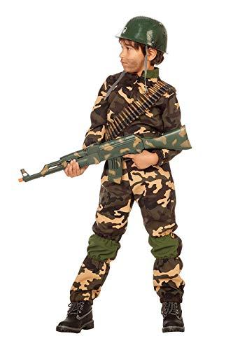 Camouflage-Kostüm Kinder Jungen Overall (ohne Kappe) Soldaten-Anzug Tarnfarbe Militärunform Armee Army Luftwaffe Marine Karneval Fasching Hochwertige Verkleidung Fastnacht Größe 116 Grün-Camouflage