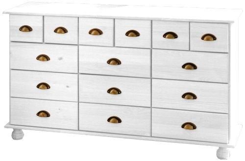Links 20900830 Kommode Sideboard weiß Apothekerkommode Schlafzimmer Kiefer massiv 12 Schubladen