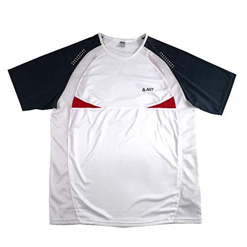 Astrolabio, Maglietta da Tennis UM, AST, Bianco/Rosso/Blu - con Tessuto Traforato TG XL - Classic Fit- H17F