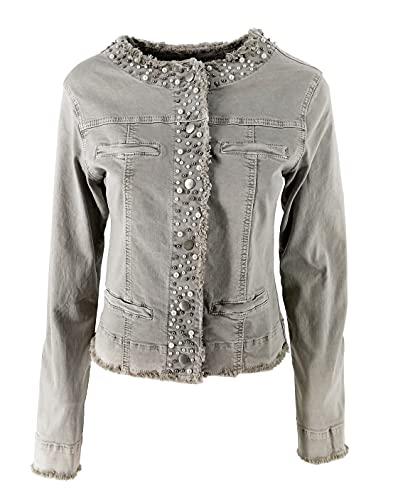 JOPHY & CO. Chaqueta vaquera para mujer sin cuello de algodón con falsos bolsillos y perlas en acabado (cód. 987) beige XS