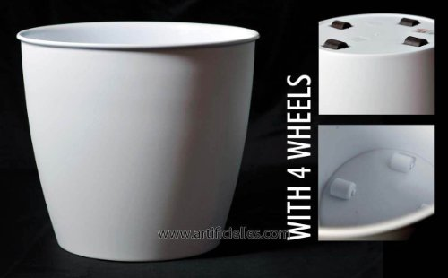 Artificielles - Bac cache pot blanc a roulettes d 42 x h 37 cm matiere plastique