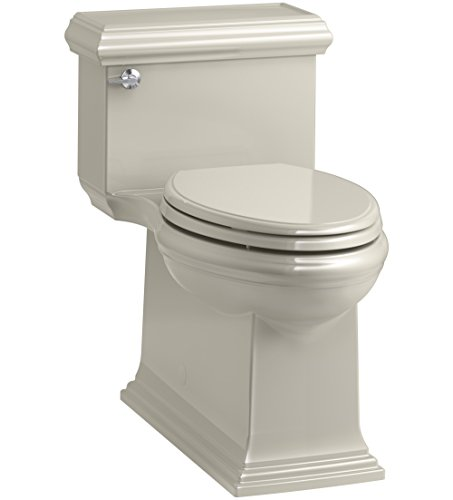 KOHLER K-6424-G9 Memoirs Classic Comfort Height Skirted One-Piece Compact Elongated 1.28 GPF Toilet with AquaPiston Flush Technology and Left-Hand Trip Lever, Sandbar