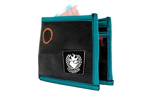 Herren Geldbörse mit Münzhalter | Bifold | Zip Münzhalter & 4 Kartensteckplätze | Super Weich + Extrem Langlebig | aus Recyceltem Fahrradschlauch | Blau