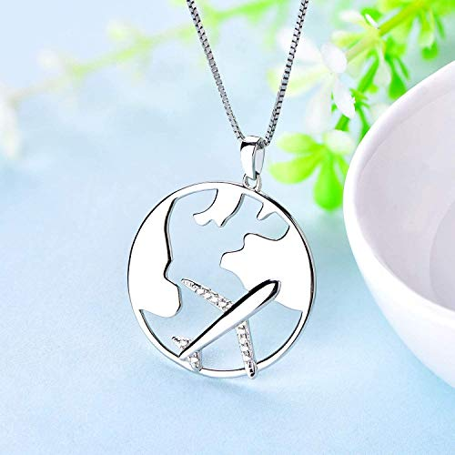 Starchenie Airplane Necklace 925 Sterling Silver World Travel Flight Pendant Necklace for Women