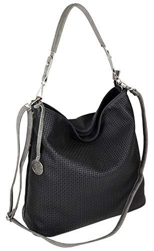 J JONES JENNIFER JONES Damen Tasche Schultertasche Große Umhängetasche in 5 Farben Handtasche für Frauen Sommer Design Crossbody (3126) (Schwarz)