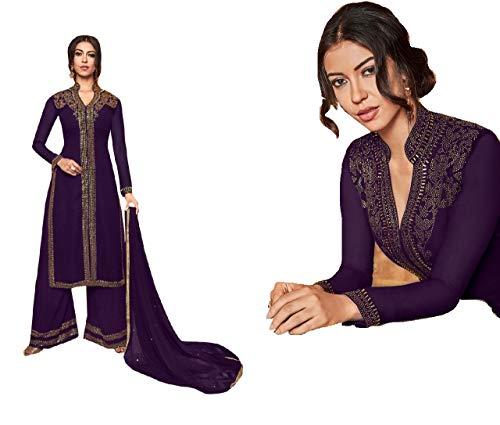 Lila voller Swarovski Stein Handarbeit muslimischen Palazzo Salwar Kameez indische Partei Frauen Anzug 8934