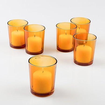 Tea Light Candle Holder Votive hobnail glass cup Orange Amber 2.5 in high