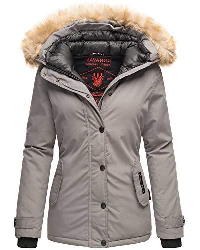 Navahoo warme Damen Winter Jacke Winterjacke Parka Mantel Kunstfell B392 (XX-Large, Hellgrau)