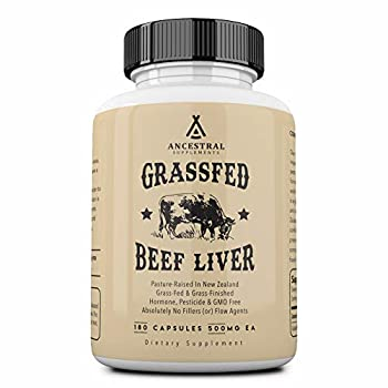 Ancestral Supplements Grass Fed Beef Liver  Desiccated  — Natural Iron Vitamin A B12 for Energy  180 Capsules