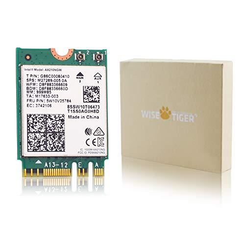 WISE TIGER AX210NGW Tarjeta WiFi, Wi-Fi 6E 11AX Módulo WiFi 2 x 2 MU-MIMO Tarjeta inalámbrica de doble banda con Bluetooth 5.2 adaptador WiFi interno para ordenador portátil, compatible con Windows 10