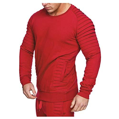 Luckycat Herren Sweatshirt Kapuzenpullover Pullover Hoodie Hoher Kapuzenansatz Gerippte Ärmel und Abschlussbündchen Sweatjacke Casual Streetwear Basic Style