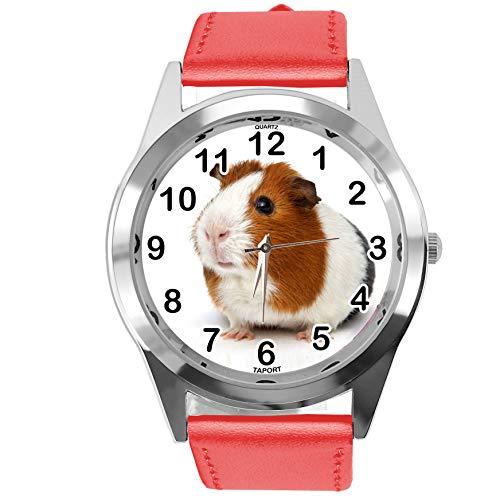 TAPORT® Reloj Redondo de Cuero Rojo para los Fans de los cobayas