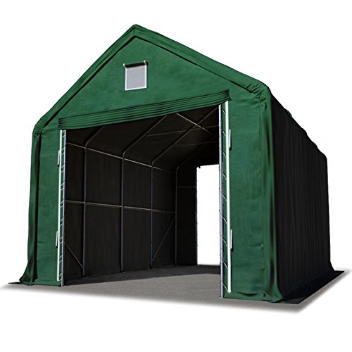 TOOLPORT Lagerhalle Lagerzelt 4 x 8 m/Seitenhöhe 3m in dunkelgrün Industriezelt mit feuersicherer 720 g/m² PVC Plane