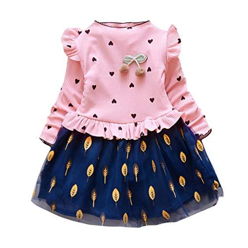 Oliviavane Baby Mädchen Prinzessin Kleid Kleidung Mädchen Langarm Gedruckt Mesh-Nähte Kleid Kinder Freizeit Kleidung Tutu Rock Langarm Party Kleid 1-5Jahre