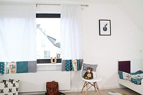 ULLENBOOM ® patchwork gordijnen kinderkamer 140x170 cm I katoenen gordijnen voor babykamer, 2 sjaals met trekkoord I I bosdieren petrol