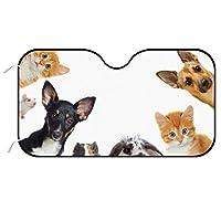 猫を探しているペットの Cat Dog カーフロントカバー 車用 サンシェード フロントガラス用 日よけ Uvカット 遮光 断熱 サンシェード