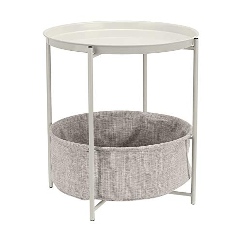 Amazon Basics Round Storage End Table - White with Heather Grey Fabric