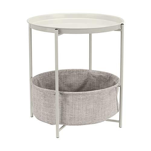 AmazonBasics Round Storage End Table - White with Heather Grey Fabric