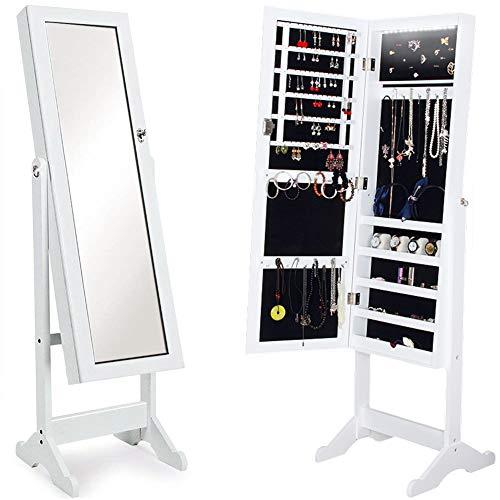 BAKAJI Specchiera Portagioie Armadietto Portagioielli Specchio con Anta Porta Oggetti e Luci a LED Colore Bianco, Armadio Organizer Porta Gioielli (Sofia LED)