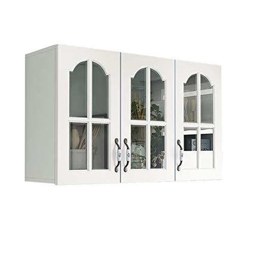 Schränke Wandschrank Küchenschrank Glastür Wand Hängen Schrank Balkon Bad Abstellraum (Color : Weiß, Size : 100 * 30 * 60cm)
