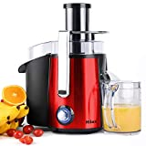 Juicers, Centrifugal Juicer Machines, Juice Extractor with LED Light, 3 inch Feed Chute 2 Speed Mode, One Button Control Easy to Clean, Stainless Steel Power Juicer Maker for Vegetables Fruits, Red