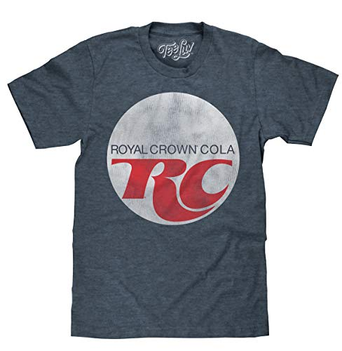 Tee Luv Royal Crown Cola T-Shirt - Retro RC Cola Soda Logo Shirt (Indigo-Black Heather) (XL)