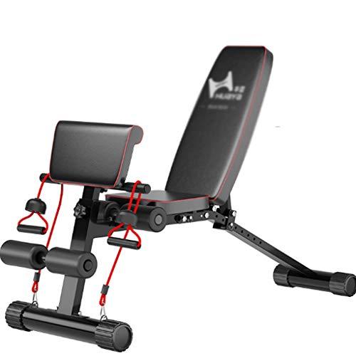 Banco de Pesas Banco de Ejercicios Multifuncional Banco de ejercicio supino Junta músculo abdominal del Consejo de la pesa de heces aparatos de ejercicios abdominales plegable Junta ( Color : Black )