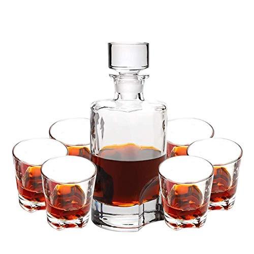 AOO Whiskey Carafe Whiskey, 7 Piezas Decantador de Vidrio Artesanal de 7 Piezas Decantador de Whisky Elegante con tapón Adornado y 6 Gafas de cócteles Whisky para Hombres