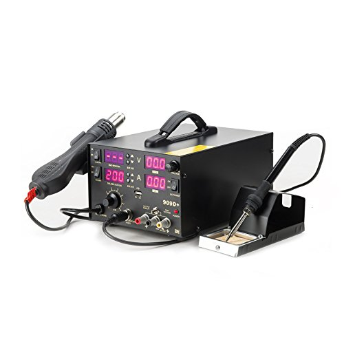 CO-Z 909D+ 5 in 1 SMD Soldering Rework Station with Hot Air Heat Gun, Solder Iron Station with Stable DC, 5V USB Outlet for Charging, LED Digital Monitor to Adjust the Voltage and Temperature