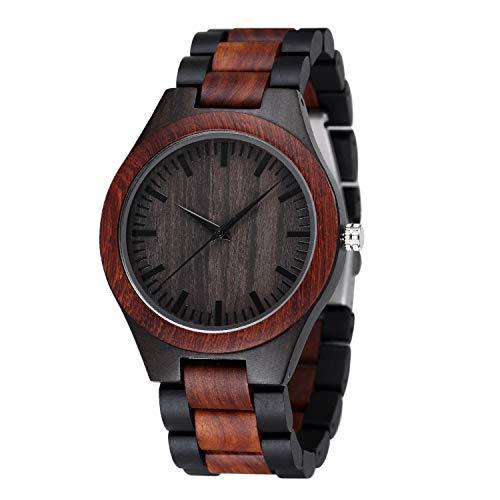 Holzuhr Herren, Shifenmei Minimalistisches Holzuhren für Herren Damen Japanisches Quarzwerk Design Handgefertigte Uhr mit Holz Armband inkl. Geschenkbox (B-Rot)