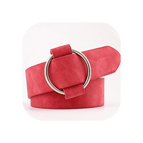 Womens ronde casual dames riemen voor modellering riemen zonder gespen lederen riem Cinturon Mujer N002-rood-103x3cm