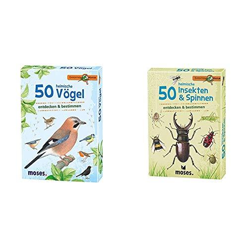 moses. Expedition Natur - 50 heimische Vögel   Bestimmungskarten im Set   Mit spannenden Quizfragen & Expedition Natur - 50 heimische Insekten und Spinnen  Bestimmungskarten im Set