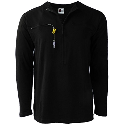 Easy Port Access Long Sleeve Chemo Shirt (Large, Black)