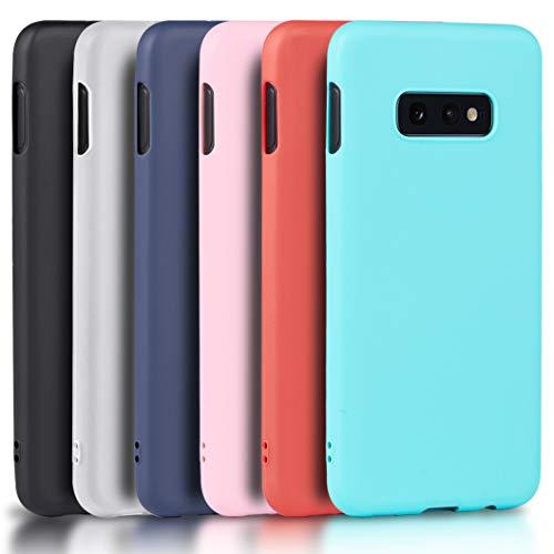 Wanxideng - 6X Funda para Samsung Galaxy S10e, Carcasa en Silicona - [ Negro + Blanco Translúcido + Rojo+ Rosado+ Menta Verde + Azul Claro ]