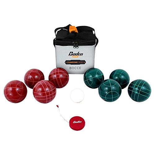 Baden Champions 90mm Bocce Ball Set with Carry Case and Measuring Tape, Red/Green