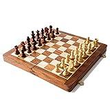WPBOY ajedrez Conjunto De Ajedrez De Bolsillo De Viaje Magnético con Tablero De Juego Plegable De 10x10 Pulgadas En Madera De Álamo Amarillo Ajedrez de Lujo (Color : Chess Set)