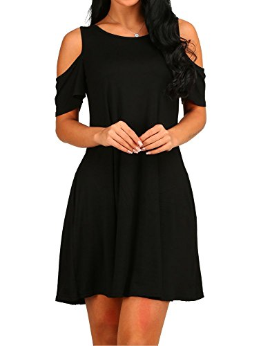 HAOMEILI Women's Cut Out Cold Shoulder Trumpet Sleeve Dress Top (Medium, Black) (Apparel)