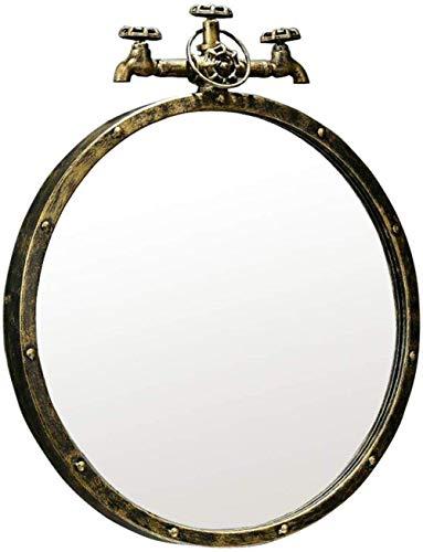 ZCYXQR Espejo de Pared Baño Espejos de Metal de Pared Espejo Mural Decorado para Sala de Estar Diseño de Grifo Retro 1,1, Bronce