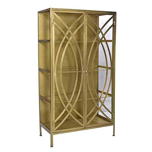 Deco Brass Finish Cabinet with Storage Glass Shelves Inside. Wonderful Piece for Storing Dishes and Other Decorative Items.