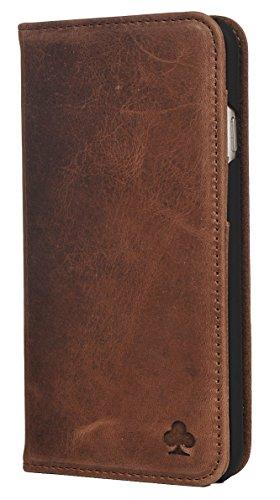 Porter Riley - Coque pour iPhone XR. Housse Premium en Cuir véritable avec Socle Rabattable/Coque/Etui/Portefeuille (Brun Chocolat)