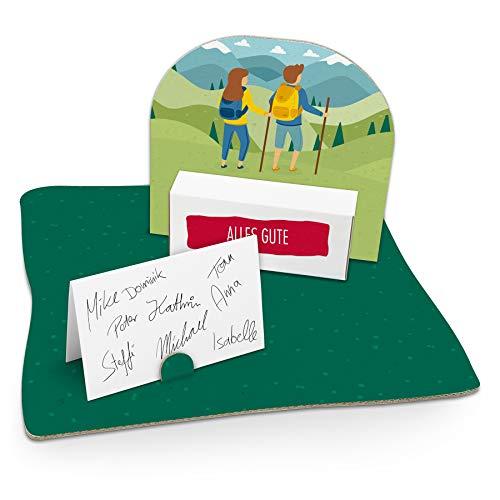 itenga Wandern Geldgeschenk Gastgeschenk Verpackung Reisekasse mit Bodenplatte, Geschenkkarte und Stickerbogen