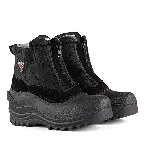 horze Stallstiefel mit Reißverschluss vorne, Thinsulate Futter und dicken Gummisohlen, Schwarz, 35