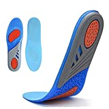 Insoles for Women & Men, Running Athletic Gel Shoe Insoles, Full Length Orthotic Plantar Fasciitis Inserts with Arch Support Relieve Flat Feet, High Arch, Foot Pain,Supination (Blue)