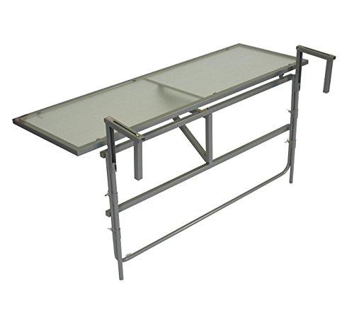 gartenmoebel-einkauf Balkonhängetisch 120x40cm, Stahl grau + Sicherheitsglas, klappbar