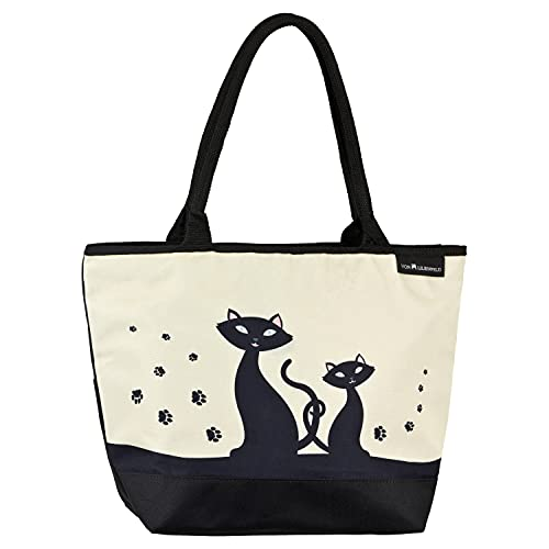VON LILIENFELD Handtasche Damen Motiv Schwarze Katzen Kätzchen Shopper Maße L42 x H30 x T15 cm Strandtasche Henkeltasche Büro